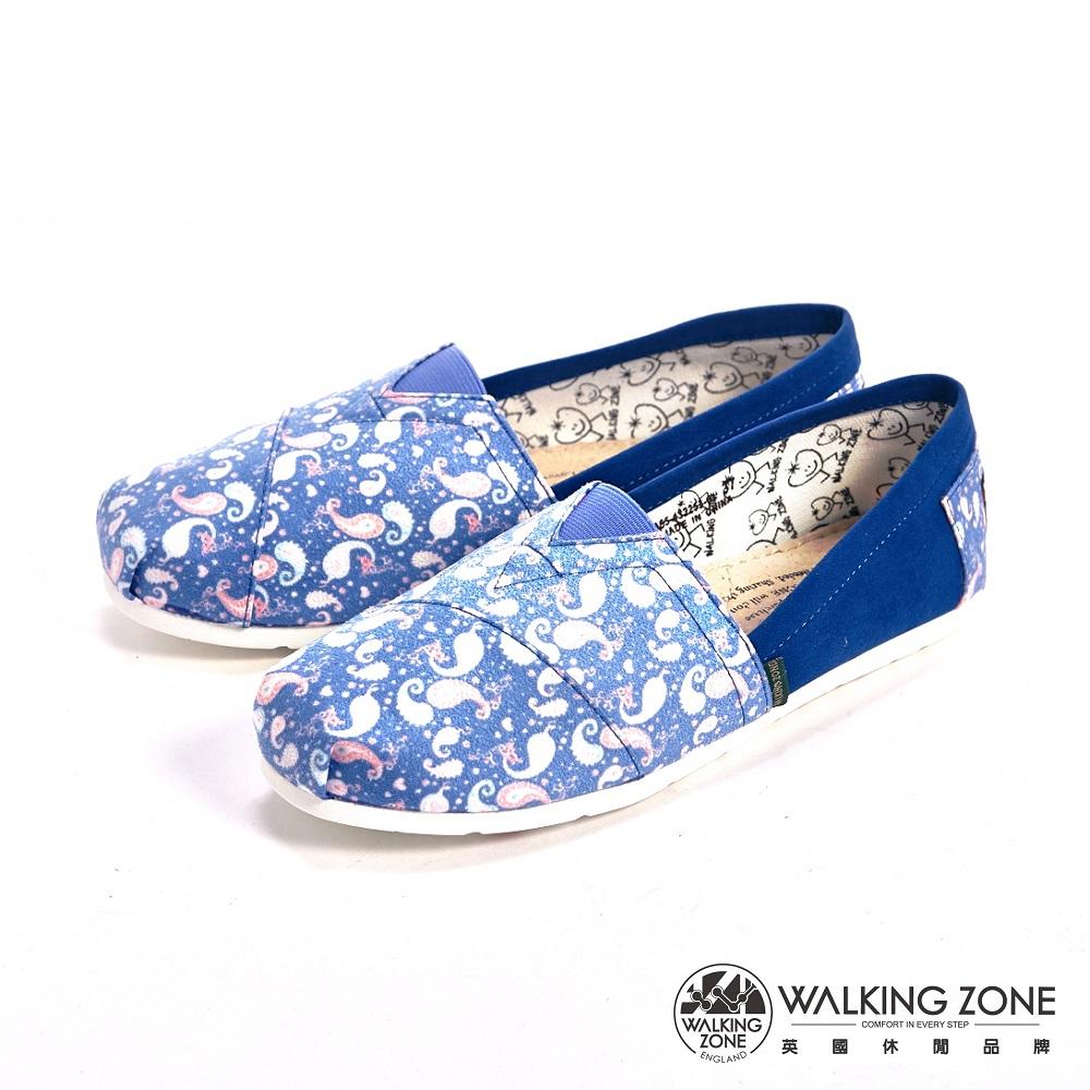 WALKING ZONE 藝術插畫風小雲朵國民便鞋女鞋-藍