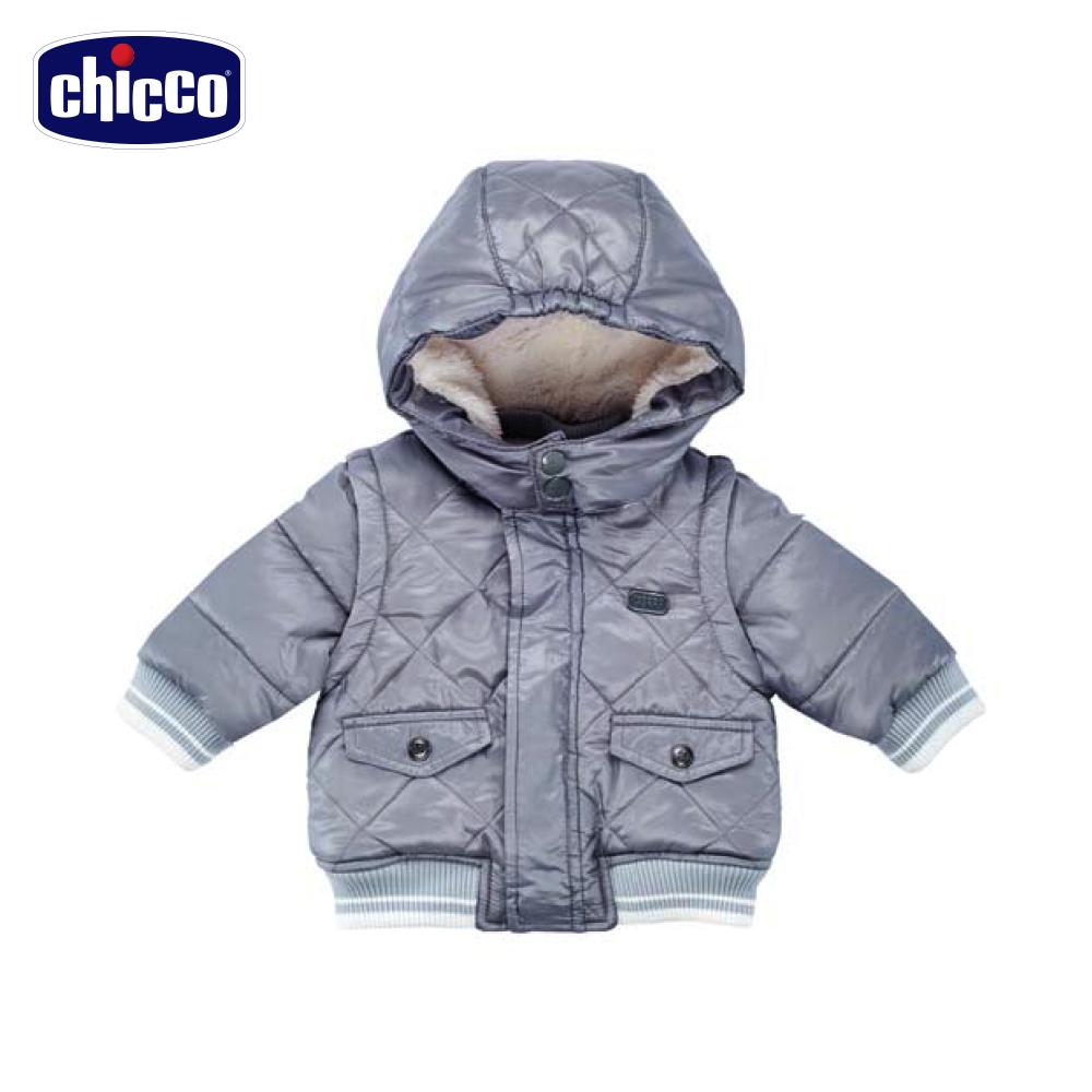 chicco活動袖舖棉連帽外套-灰(12個月-18個月)