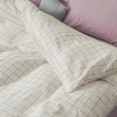 台灣製 被套-雙人 上選長絨棉-大格白 新疆棉寢織品 自然無印 自由混搭 翔仔居家
