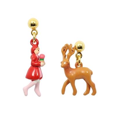 Les Nereides N2  雪地王國系列 可愛小女孩與麋鹿 不對襯耳環 耳針