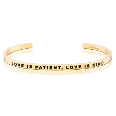 MANTRABAND Love is Patient Love is Kind 金色手環