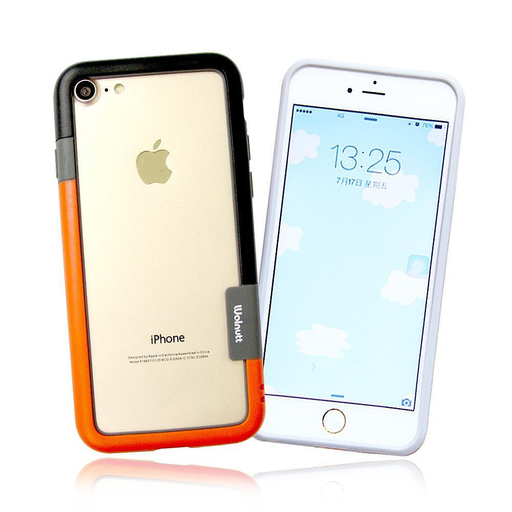VXTRA日韓糖果風 iPhone 8/iPhone 7撞色邊框軟式手機殼(發條黑橘)