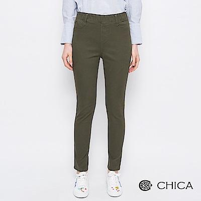 CHICA 搖滾春日知性修身直筒褲(2色)