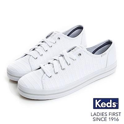 Keds KICKSTART 條紋交織綁帶休閒鞋-白色