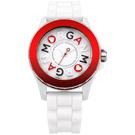 MORGAN 活潑跳躍雙層時尚腕錶-紅X白/40mm