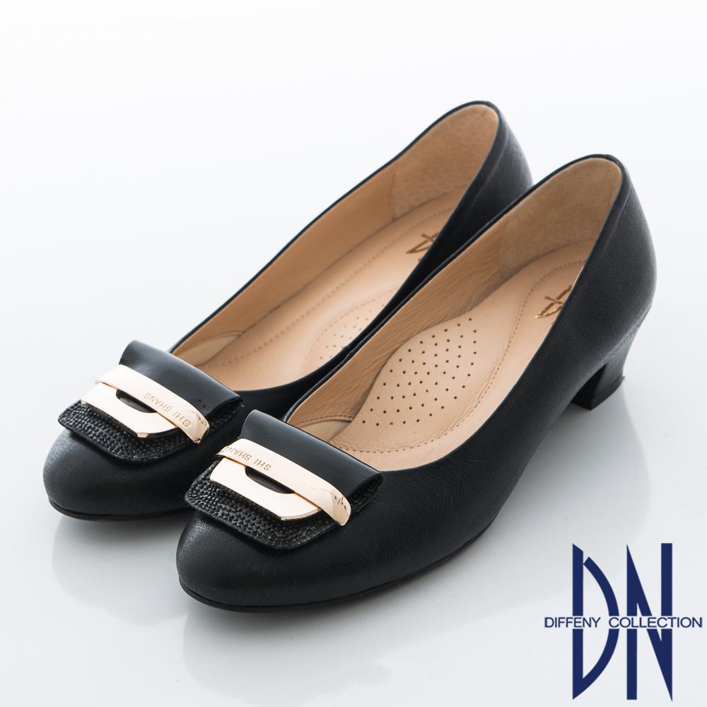 DN 柔軟減壓 羊皮鑽飾優雅百搭跟鞋 黑