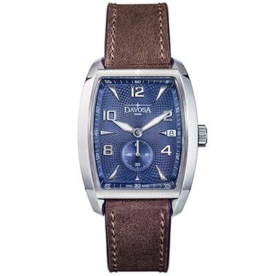 DAVOSA Evo 1908 復刻獨立酒桶小秒針手錶-立體藍面x咖啡皮帶/36mm