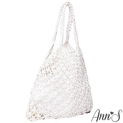 Ann'S文青風格簍空手工編織網袋-米白