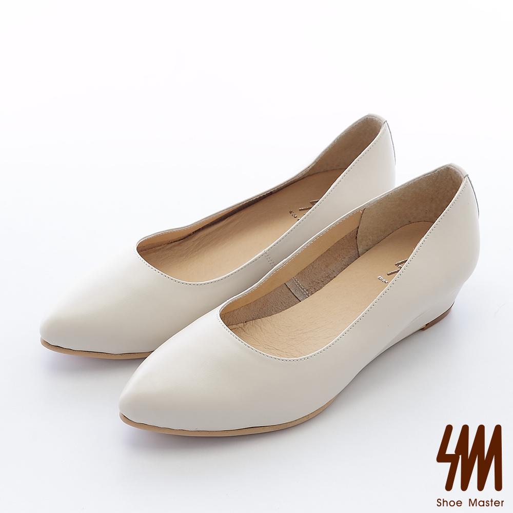 SM-台灣全真皮-素面後跟鉚釘尖頭低跟楔型淑女鞋-杏色
