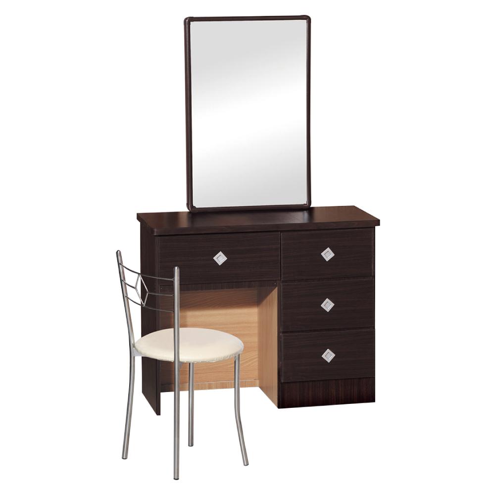 品家居 米俄3尺立鏡式化妝鏡台含椅(五色可選)-91x40x173cm-免組
