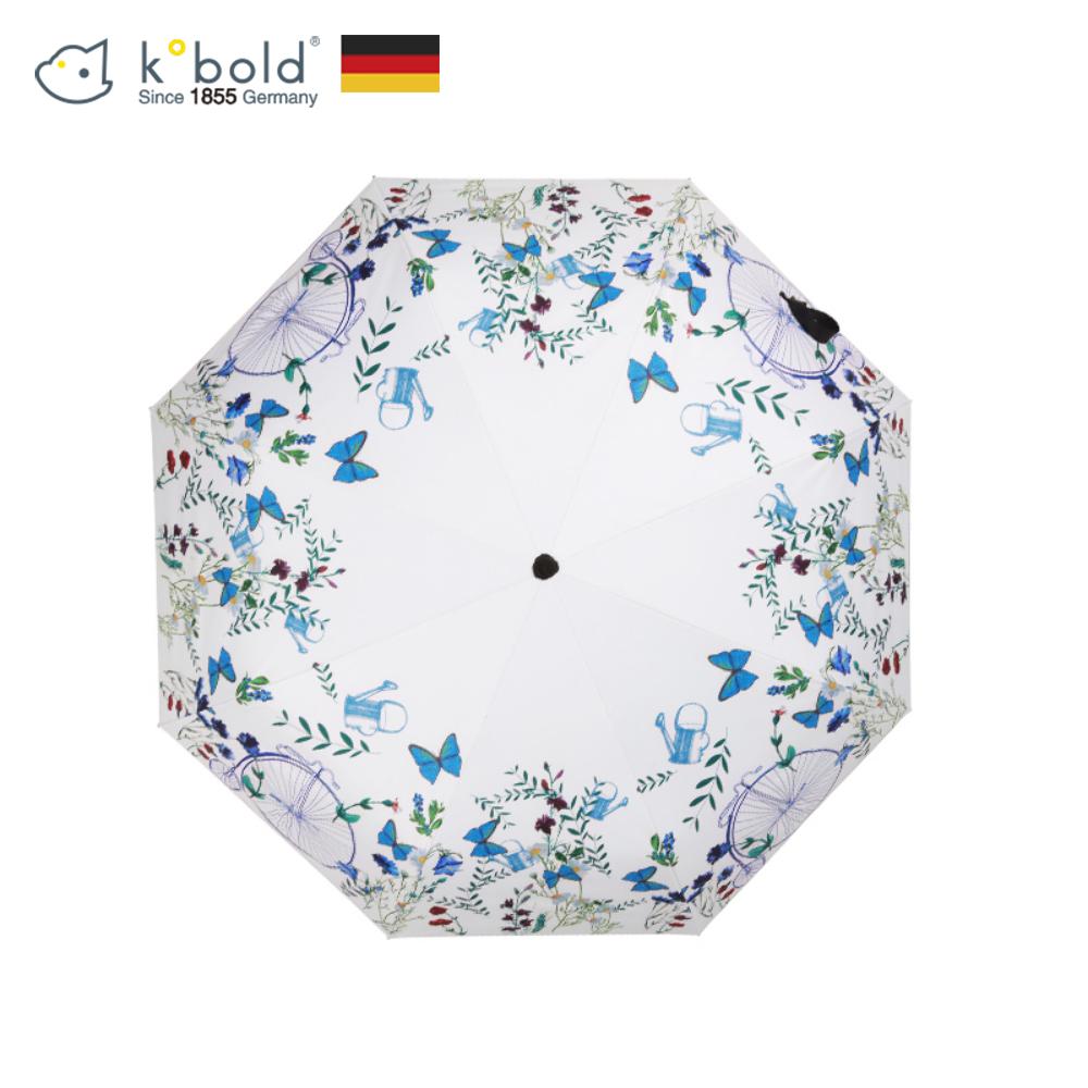 德國kobold酷波德 浪漫一夏 超輕巧抗UV防曬三折傘-藍綠相間