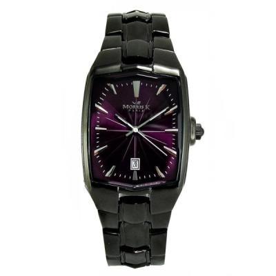 MORRIS K 巴黎時尚波紋IP黑腕錶-IP黑/紫/37mm