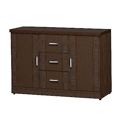 品家居 瑟雅4尺胡桃木紋二門三抽餐櫃下座-119.7x42.5x81.8cm免組