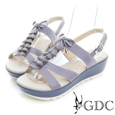 GDC-清新風格蝴蝶結流蘇真皮楔型厚底涼鞋-紫色