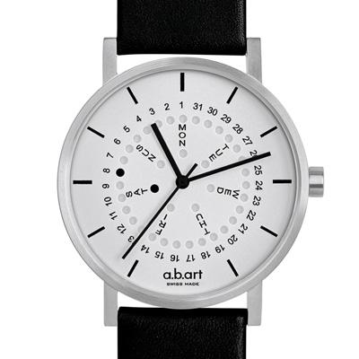 a.b.art O系列 經典日期星期圓盤跳點腕錶-銀/40.5mm