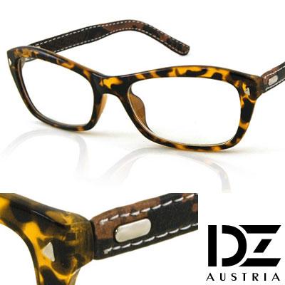 【2件59折】DZ 三角釘車線皮革 平光眼鏡(玳瑁深咖)
