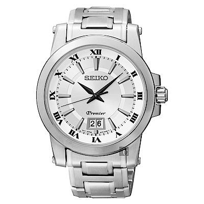 SEIKO Premier 羅馬主義大視窗時尚腕錶(SUR013J1)-銀/40mm