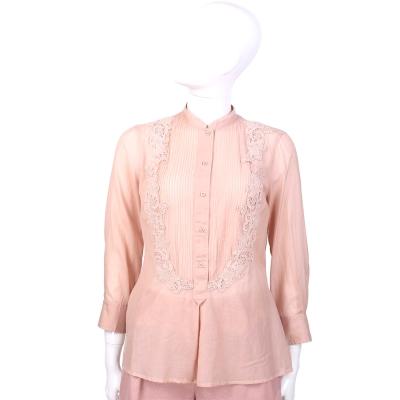 SCERVINO 粉色織花拼接七分袖上衣