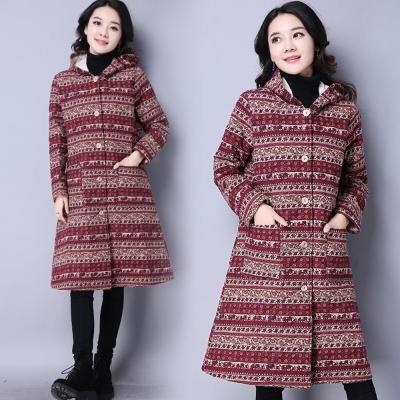 夾綿長版棉麻風保暖外套-共2色(M-2XL可選)   NUMI 森