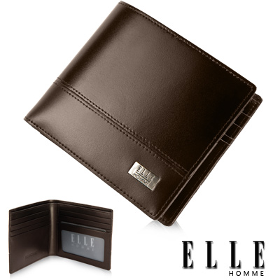 ELLE-HOMME-精品短夾-水波紋-單層-鈔票