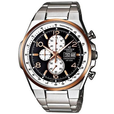 CASIO EDIFICE 個性賽車風運動時尚腕錶(黑白面金框)-45mm