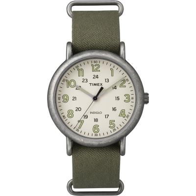 TIMEX Weekender復古手錶-綠面x霧銀框-40mm