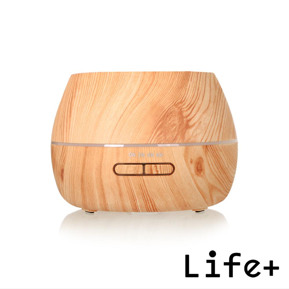 Life Plus 超聲波可定時香氛水氧機/加濕器_圓柱型 (淺木紋)