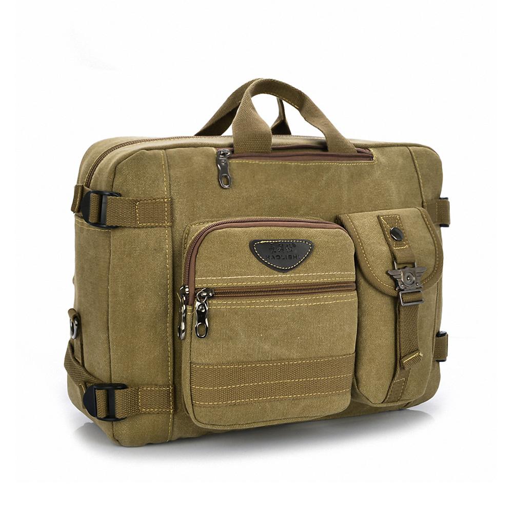 DF BAGSCHOOL - 帥度滿點帆布款斜背手提3用後背包-卡其