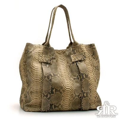 【2R】珍稀蟒蛇皮-限量訂製BELLAVI肩提包-加大版(橡樹色)