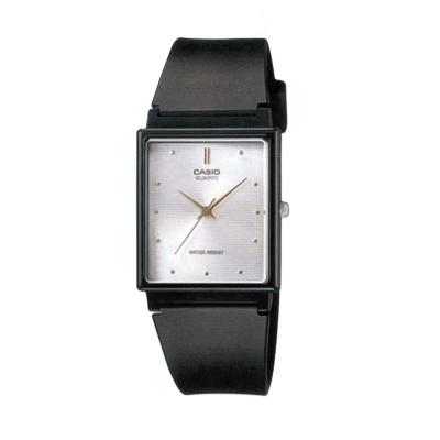 CASIO 簡單經典復古長方款指針錶-黑(MQ-38-7)白面/25mm