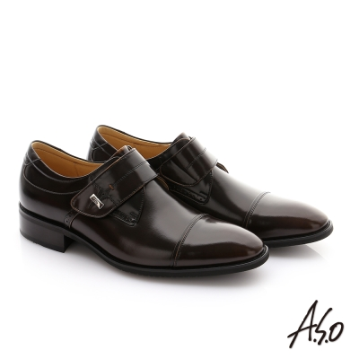 A.S.O 勁步雙核心 鏡面牛皮魔鬼氈奈米紳士鞋 茶色