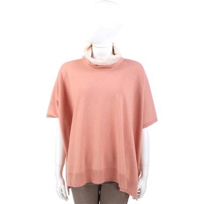 FABIANA FILIPPI 粉橘色拼接設計羊毛短袖上衣/斗篷(75%LANA)