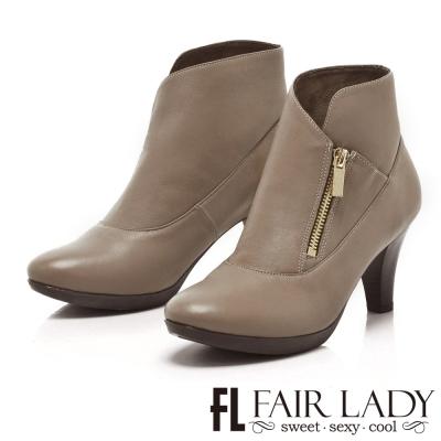 Fair Lady 酷美摩登尖頭拉鍊高跟短靴 駝