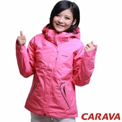 CARAVA 《女款防水透氣外套 兩件式》(粉玫紅)
