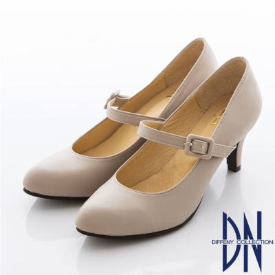 DN-瑪莉珍女孩-經典素雅百搭繫帶高跟鞋-芋