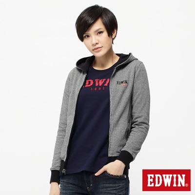 EDWIN-感官效果-千鳥格雙面穿長袖拉T-女款-黑色