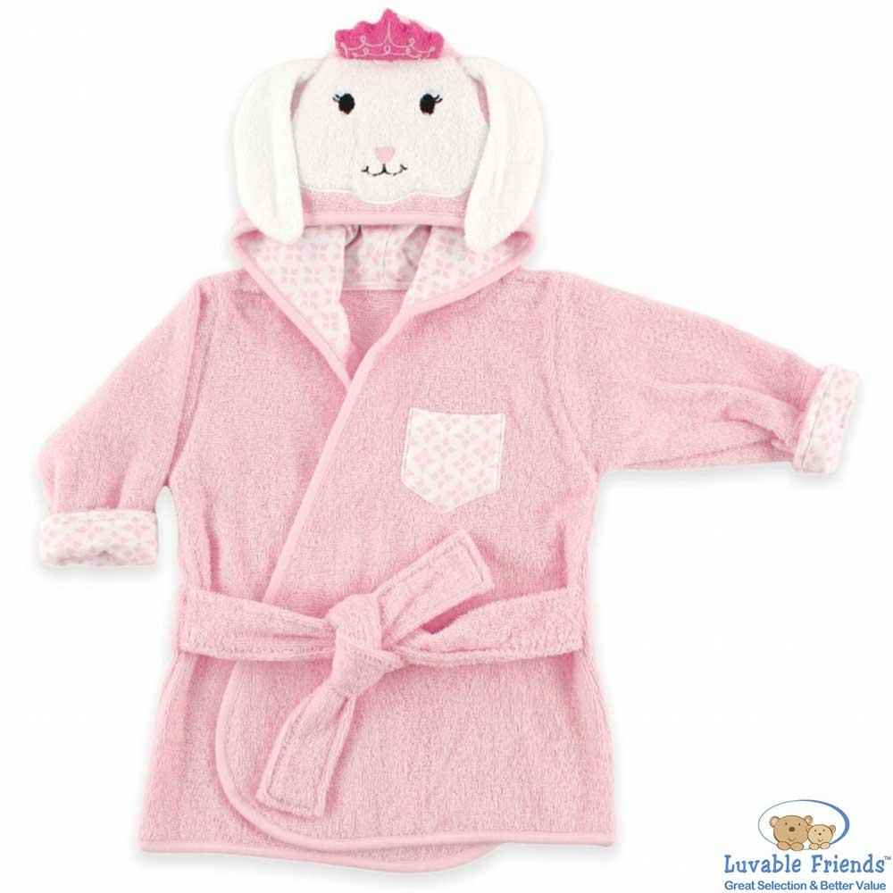 Luvable Friends 粉紅皇冠小兔動物造型綁帶浴袍