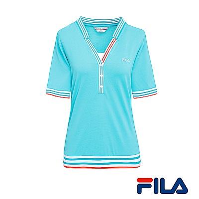 FILA女性小領線條T恤(湖水藍)5TER-1436-TQ