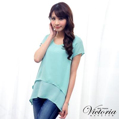 Victoria 假兩件雪紡衫-女-淺綠