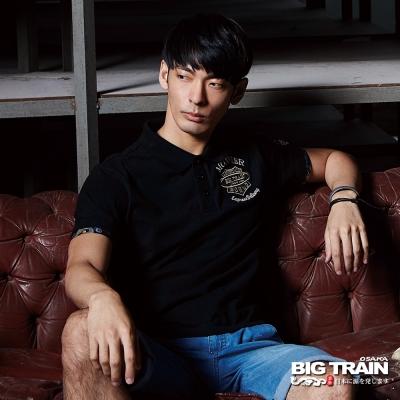BIG TRAIN 徽章繡花POLO衫-男-黑色