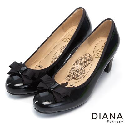 DIANA-超厚切花朵款-蝴蝶結織帶滾邊真皮跟鞋