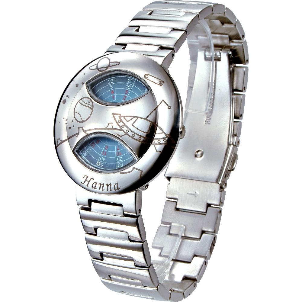 Hanna 獨家專利轉盤亮鋼飛碟款手錶-多色/37mm(保固二年)