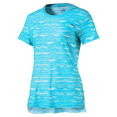 PUMA-女性慢跑系列印花短袖T恤-島嶼藍-歐規