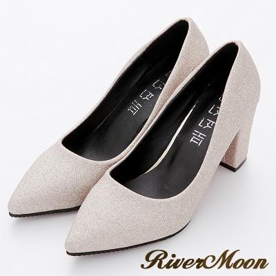 River-Moon高跟鞋-華麗耀眼金蔥粗跟尖頭鞋-金系