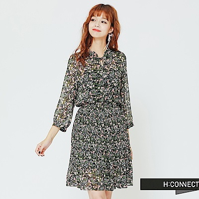 H:CONNECT 韓國品牌 女裝 - 花樣飄逸雪紡洋裝-藍