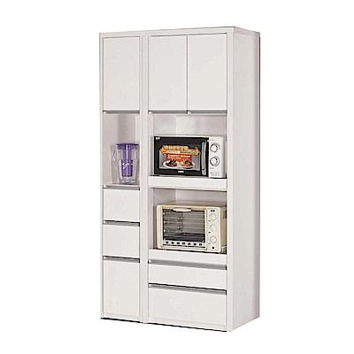品家居 維多3尺三門五抽高餐櫃組合-90x40x181.5cm免組