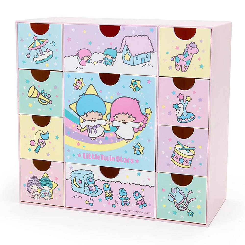Sanrio雙星仙子多格抽屜桌上型塑膠收納櫃復古玩具箱