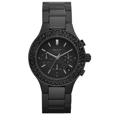 DKNY 絕美極限日期陶瓷腕錶-黑/38mm