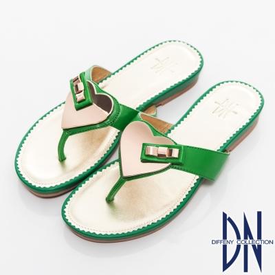 DN-夏日甜心-羊皮拼接金屬飾扣平底拖鞋-綠