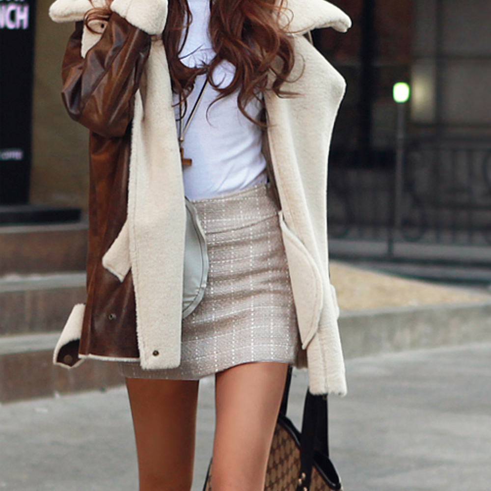【N.C21】反光線條交織格紋毛短裙 (共二色)